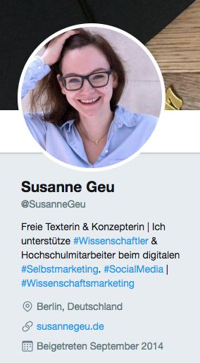 Screenshot des Twitter-Profils von Susanne Geu