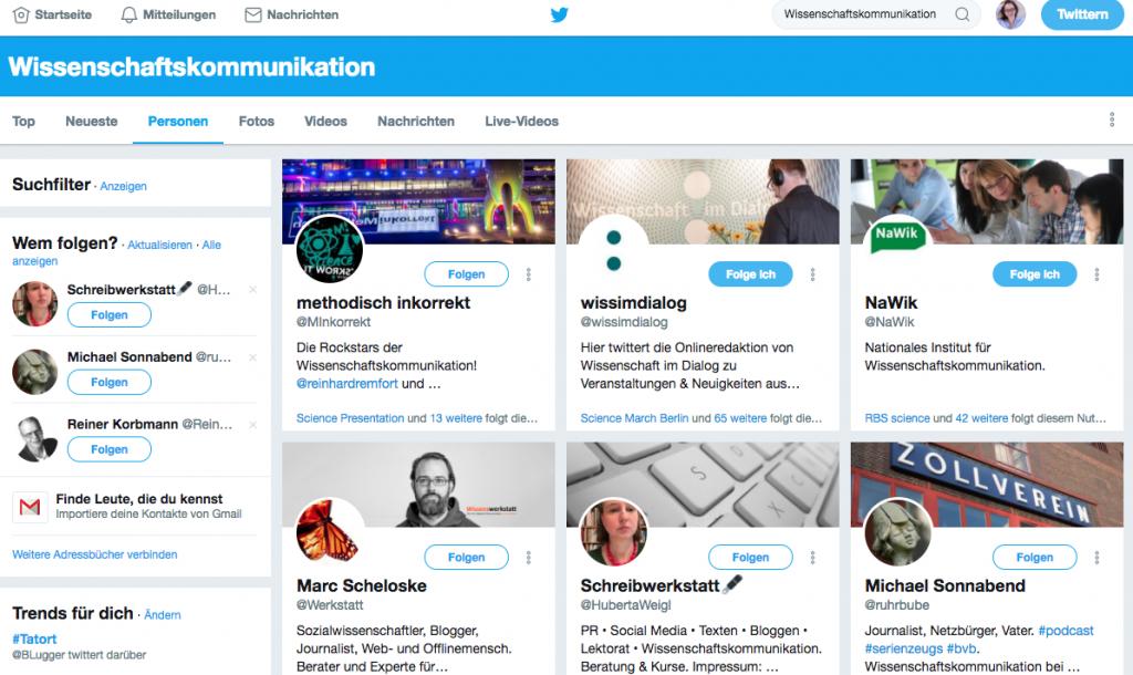 Screenshot der Twitter-Suche nach Personen in der Wissenschaftskommunikation