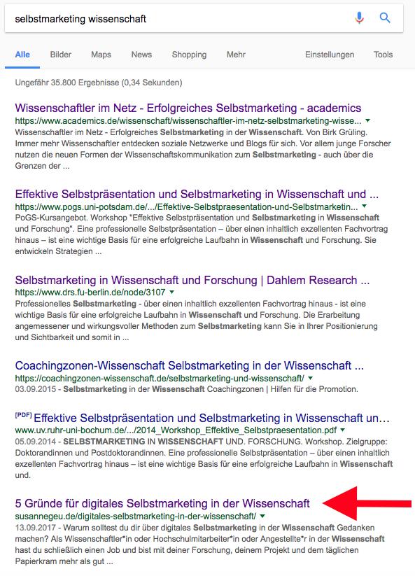 Google-Ergebnis für Keywords Selbstmarketing Wissenschaft
