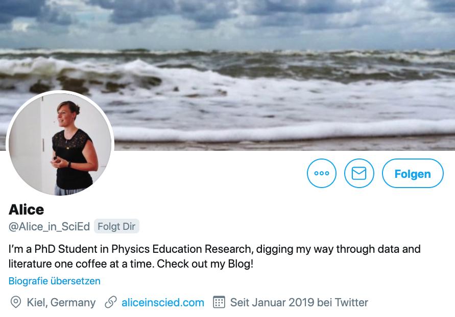 Twitter-Biografie von Alice