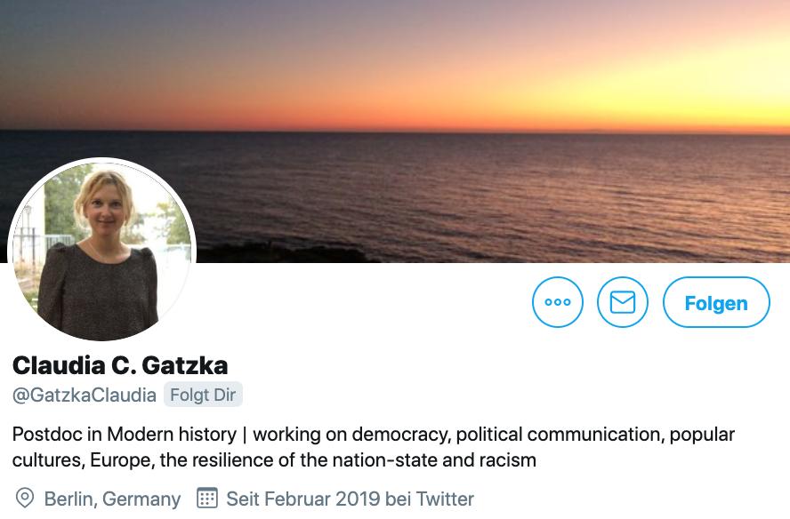 Twitter-Biografie von Claudia C. Gatzka