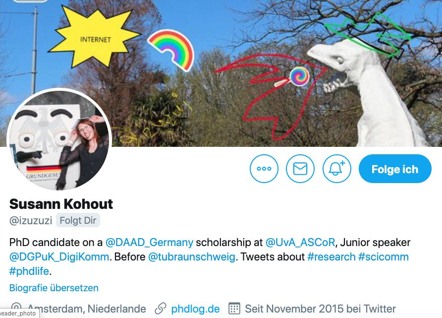 Twitter-Biografie von Susann Kohout