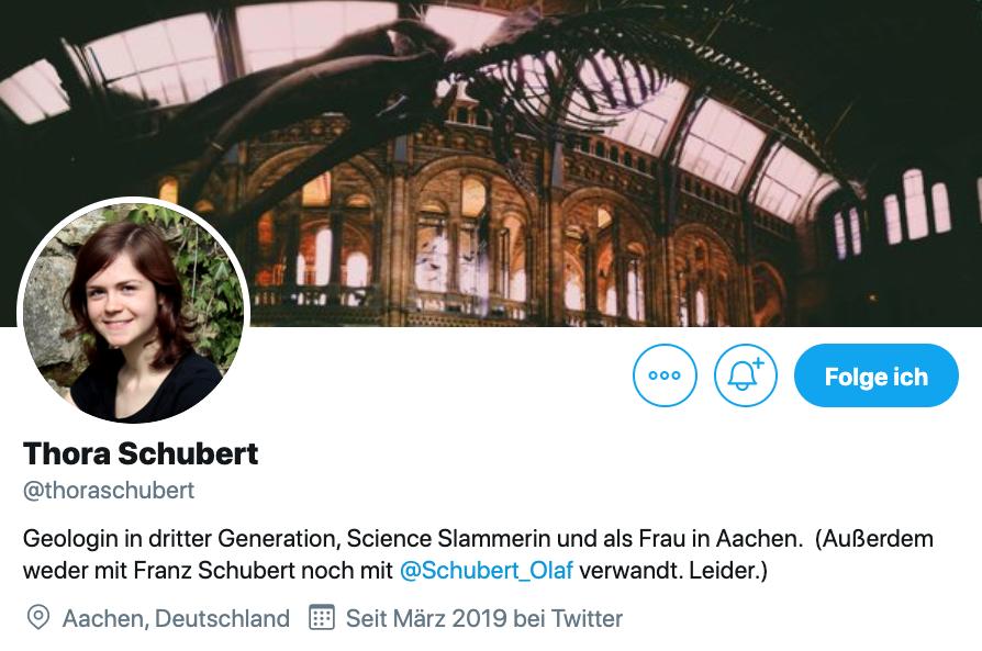Twitter-Biografie von Thora Schubert