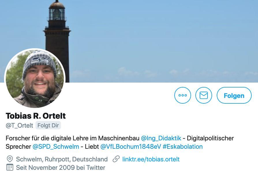 Twitter-Biografie von Tobias R. Ortelt